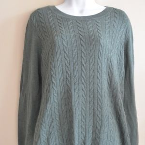 Talbots Forest Green Cable Knit Sweater